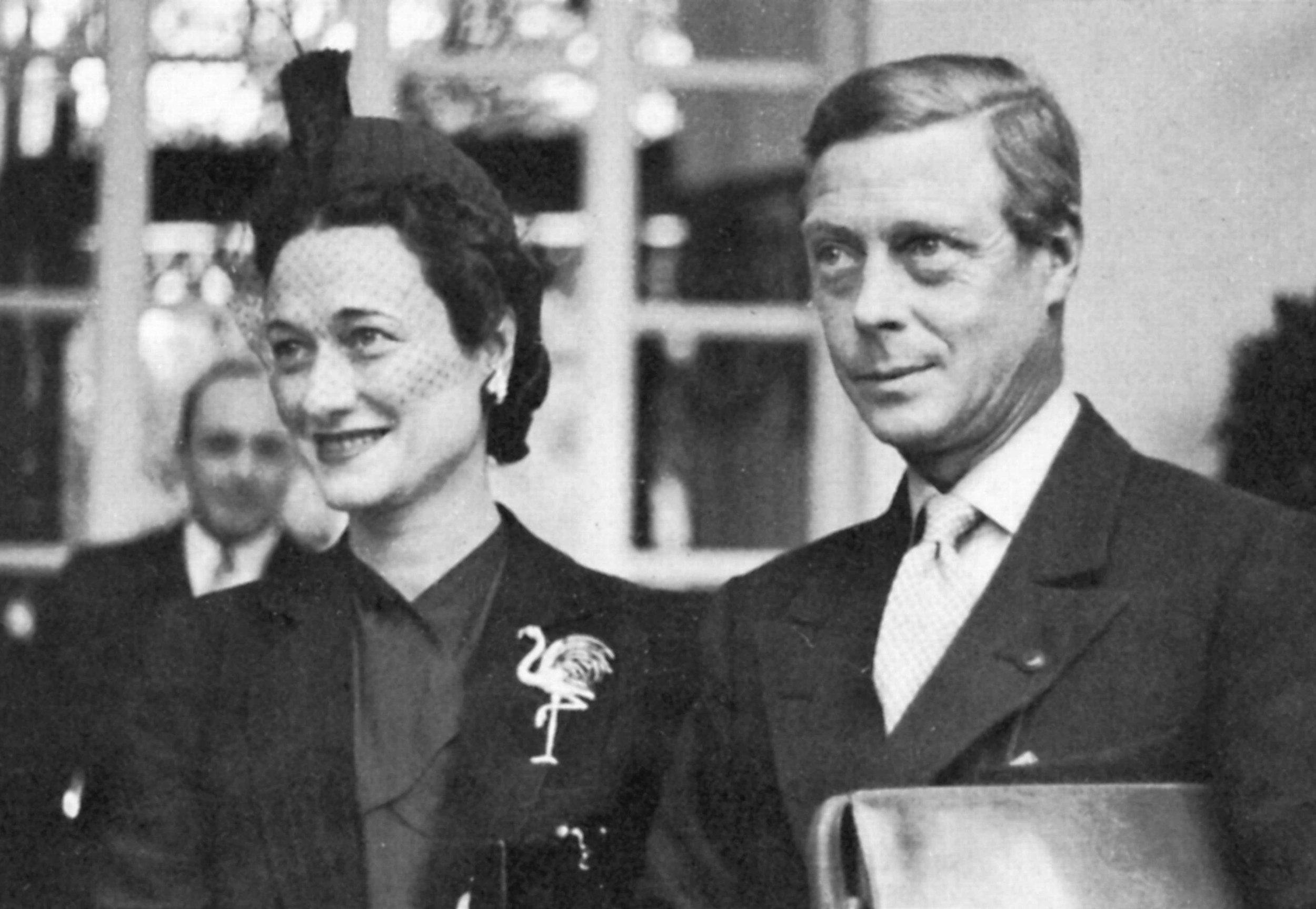 Wallis wearing her flamingo brooch