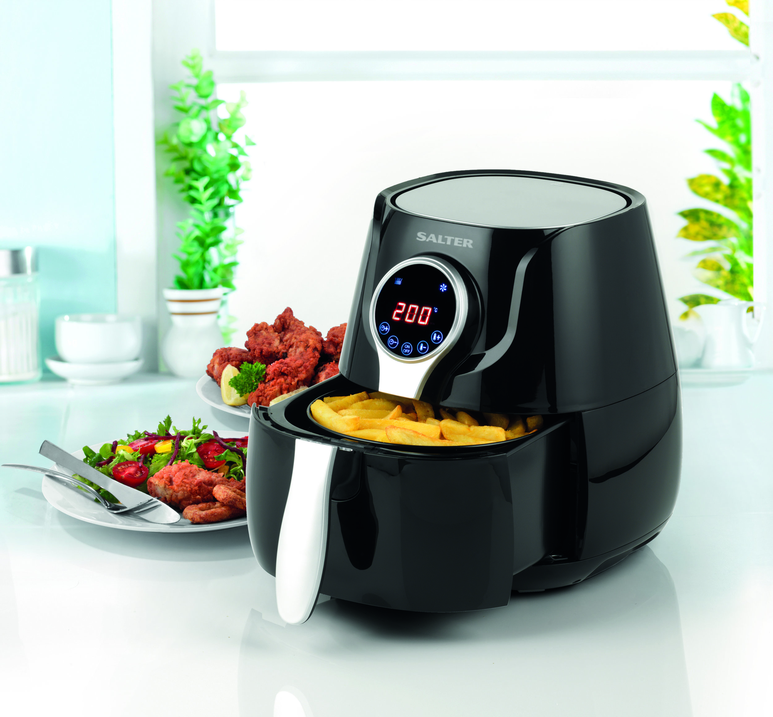 Rating: 4/5 Stars ****  Salter EK2205 Healthy Digital Hot Air Fryer, 4.5 Litre, 1400 W, Black, £65.99 available from  Amazon