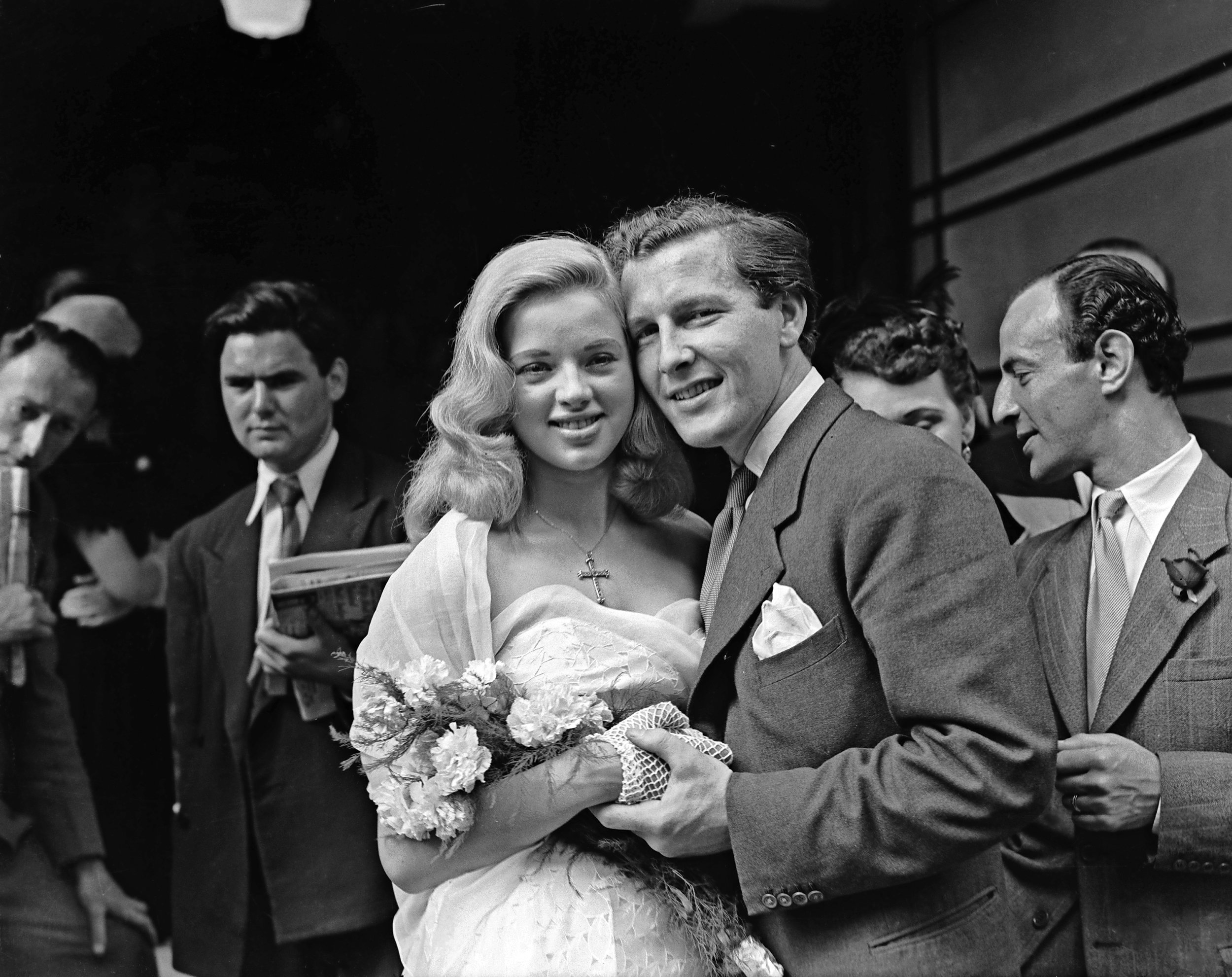 Diana and Dennis on their wedding day (1951): the marriage was unhappy and violent