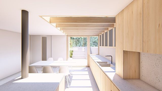 Wood: strong, versatile, beautiful (and it smells nice). Studies for a glazed side return extension in expressed structural timber. #plywood #concrete