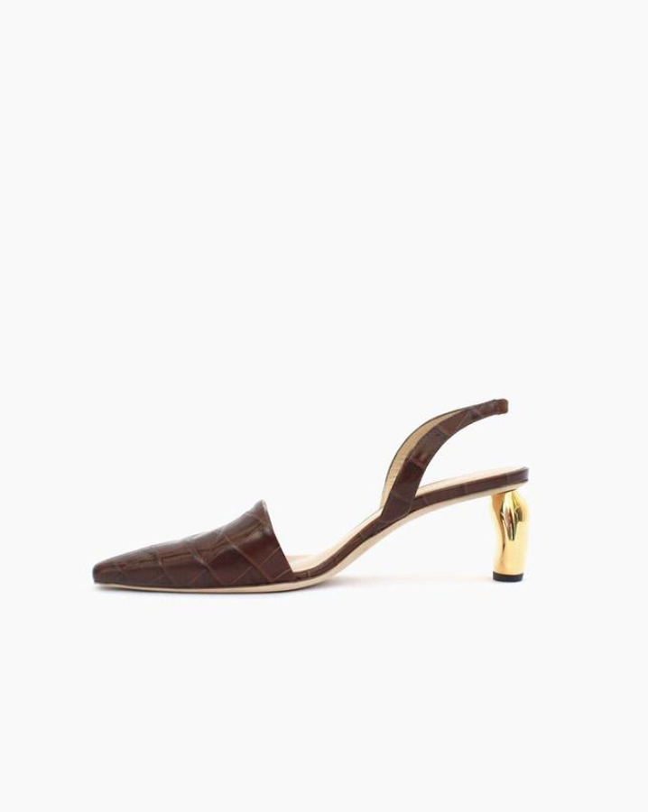 Rejina Pyo Conie slingback heel - Rejina Pyo encourages her consumers to consider the pieces and accessories they wear and how they maintain relevant over time. Pyo is opposed to short-term trends and these brown leather sandals with embossed crocodile effect and gold heel are a shoe for not just the party season ahead, but for the next decade of them.