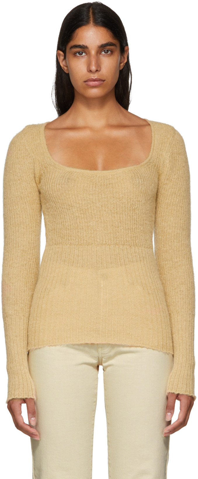 Jacquemus Beige La Mailel Dao sweater - Baby it's cold outside so wrap up warm, but baby don't you want to feel sexy too? Let Simon Porte Jacquemus help you do both. Made from 34% alpaca, 34% mohair, 32% polyamide in Portugal, this scoop rib neck is endless in use.