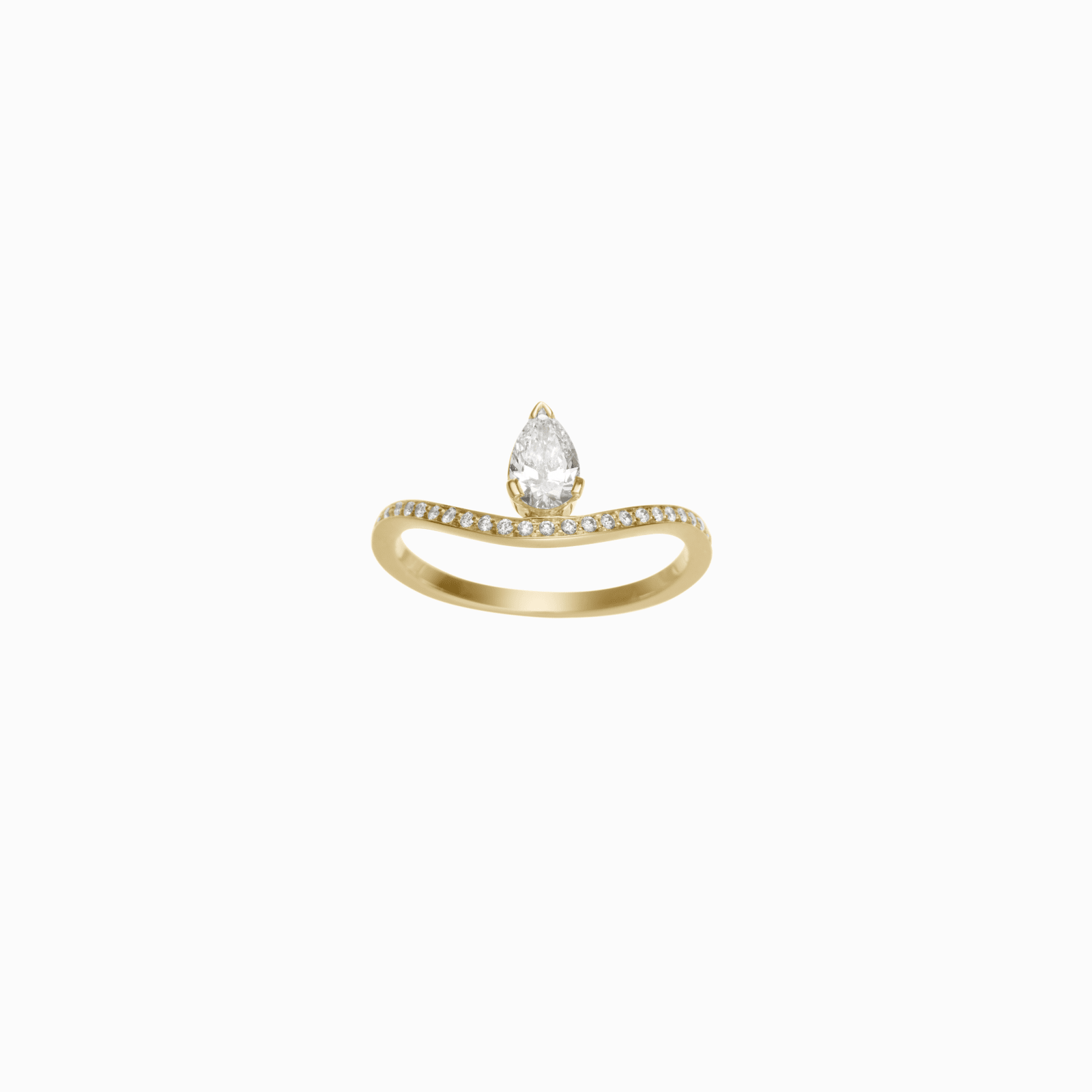 Sophie Bille Brahe Diana ring - December is filled with love and this delicate engagement ring is simply exquisite to express that. 18KT yellow gold and 0.46CTS of top wesselton VVS diamond in pavé setting and a central pear diamond in an invisible setting, Sophie Bille Brahe has considered what a woman today truly wants to signify her heart.