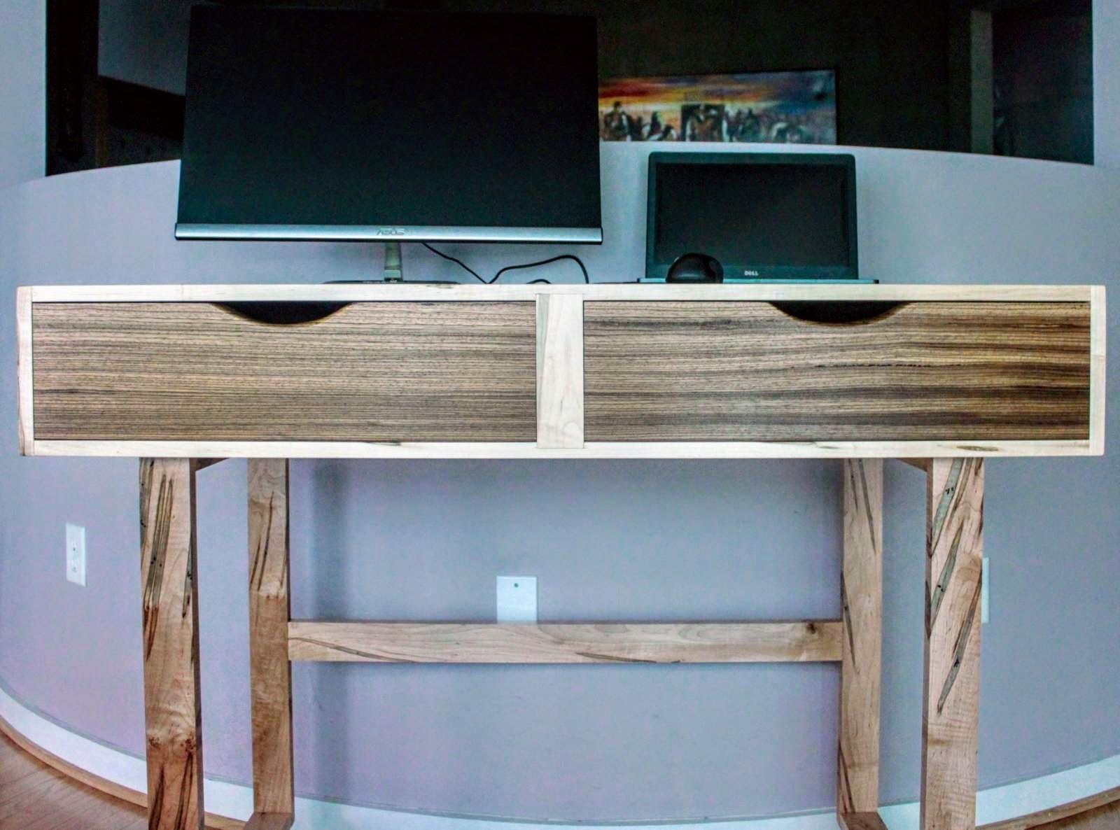 Standing Desk - Ambrosia maple and zebra wood
