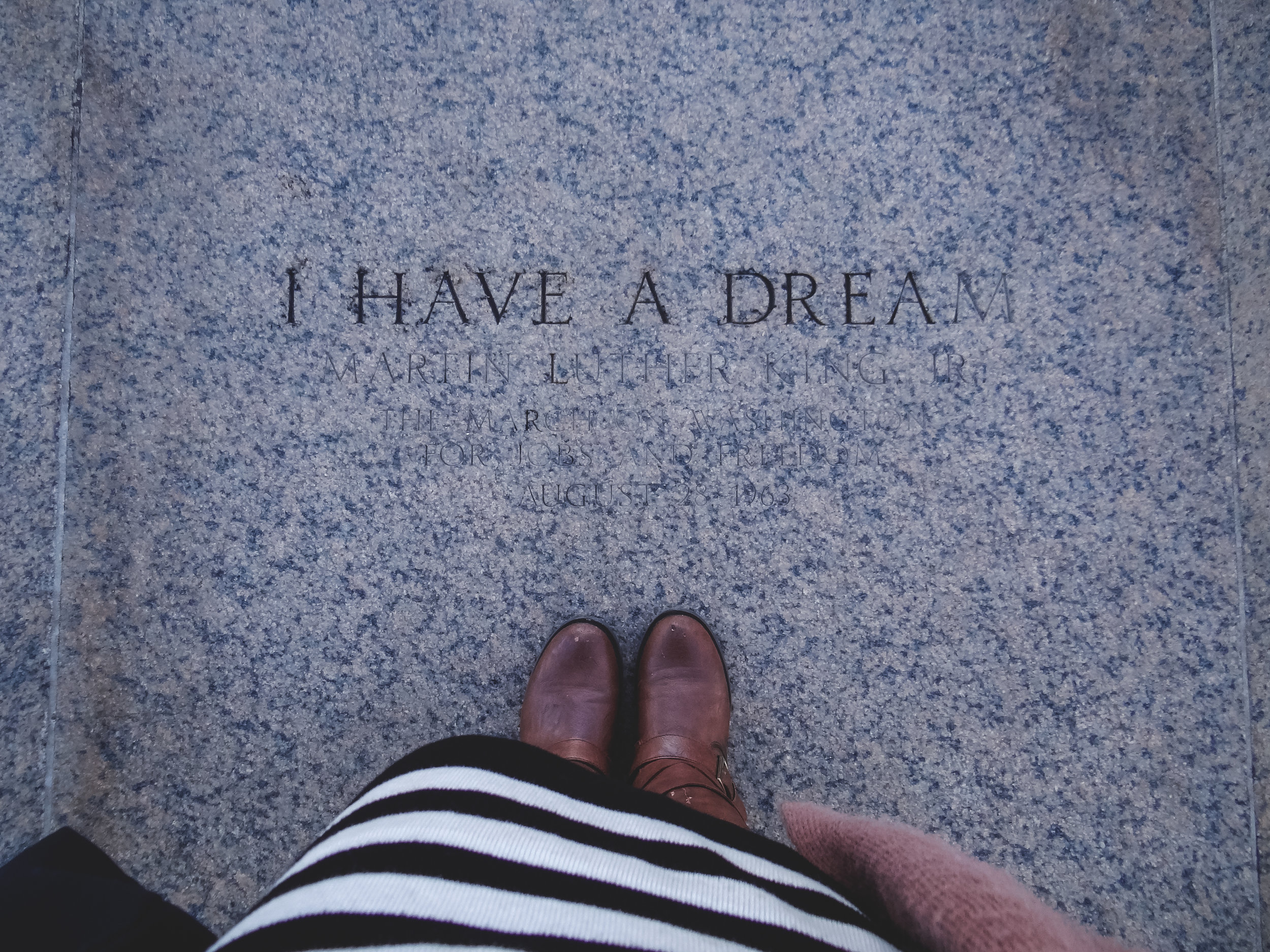 I have a dream, lincoln memorial on the steps