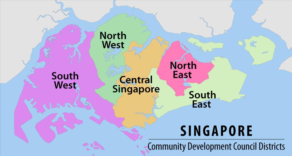The regions of Singapore.