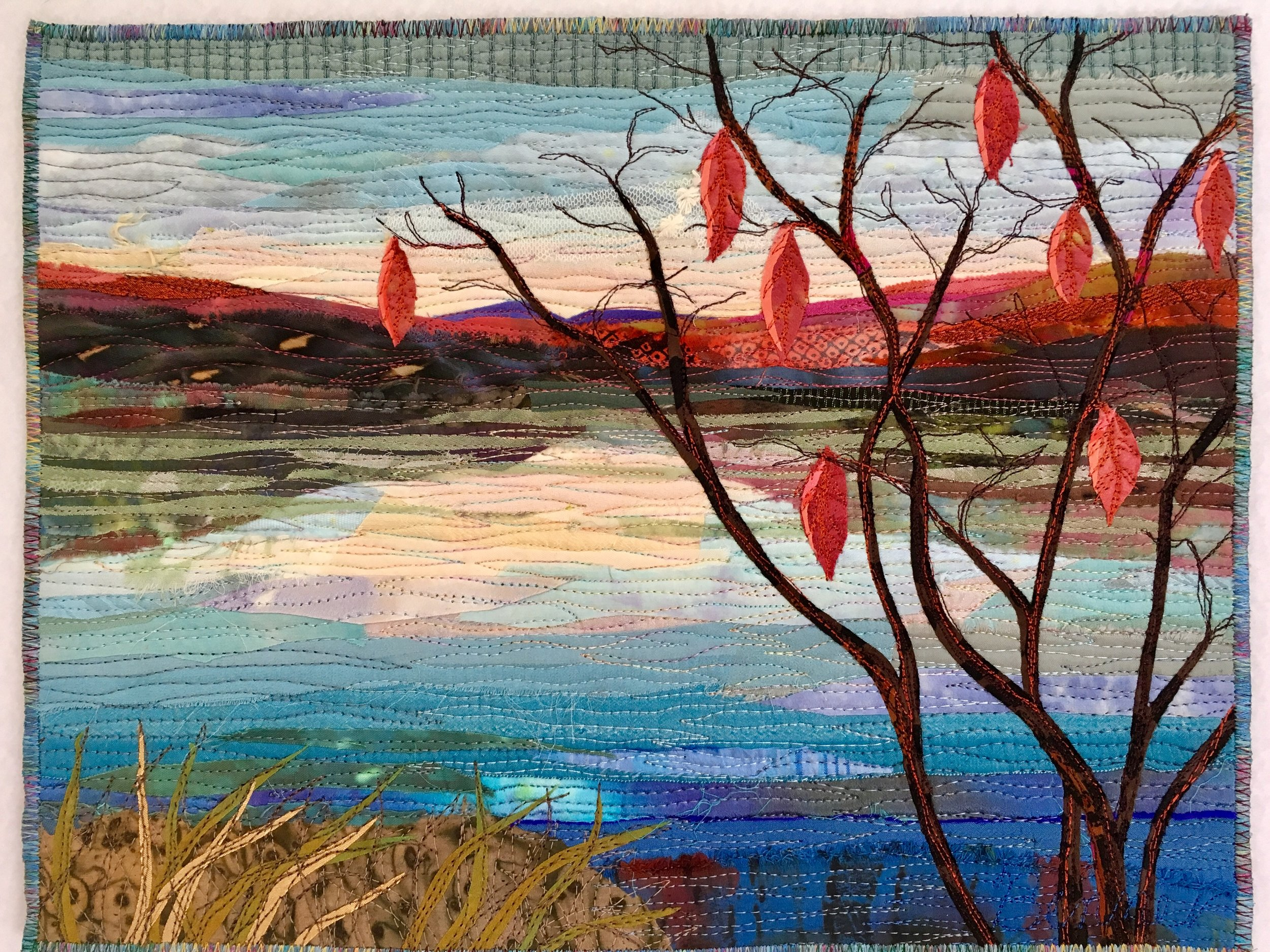 Town Park Pond with Red Leaves - SOLD