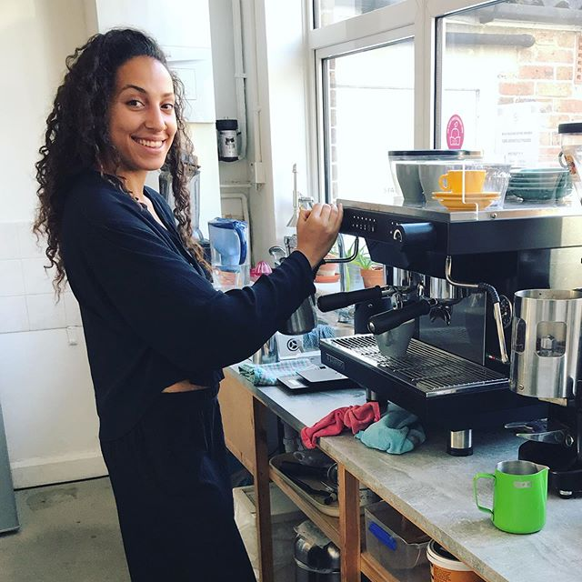 """This absolute goddess will be serving you coffee & treats in the cafe this weekend. Come and say """"Hi"""" to Mahalia Saturday 9am-12pm & Sunday 10am-1pm. She's guaranteed to brighten up your day! 💚 #bunandbean"""