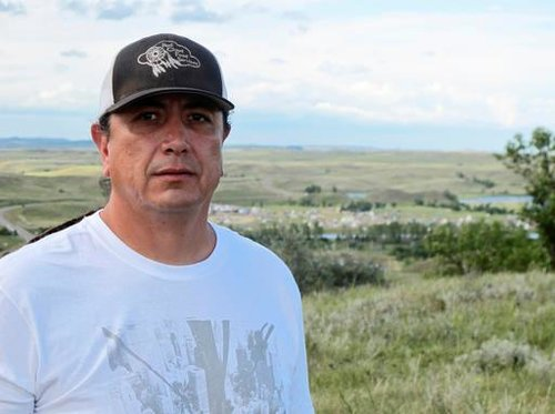 Standing Rock Sioux Chairman Dave Archambault shown near Cannon Ball., N.D., on the Standing Rock Sioux Reservation overlooking an encampment where Native Americans are gathered to join his tribe's growing protest against the Dakota Access oil pipeline.