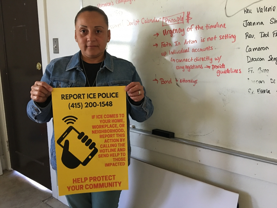 When immigration agents arrested Violeta Roman's father in San Francisco in 2014, she rushed to her neigborhood church and received help finding a law and community member who volunteered to accompany her father to immigration court. Roman then helped create a network of rapid responders to provide families facing deportation similar support.Credit: Monica Campbell