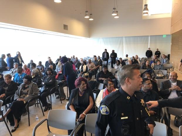 Congregants of the Emmanuel Baptist Church in San Jose had their Sunday service hosted at the SJPD substation Nov. 19, 2017. (San Jose Police Dept.)