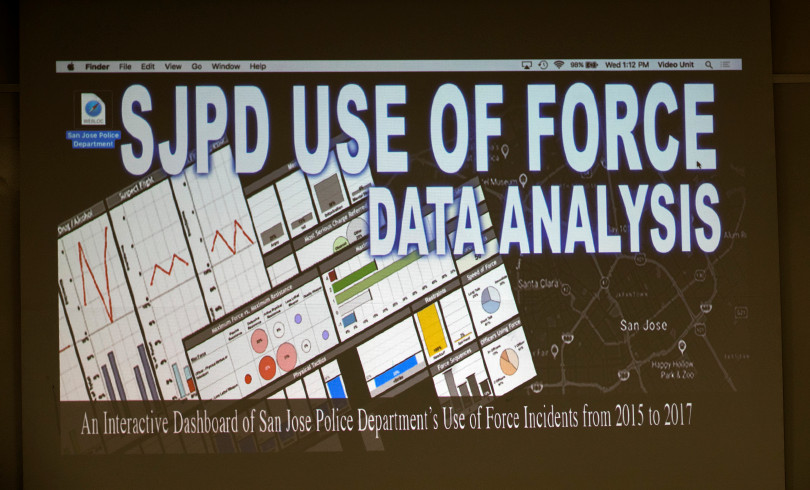 The San Jose Police Department unveiled an new online dashboard that will give the community access to force data and other information so that they can generate their own reports and studies, during press conference at police headquarters in San Jose, California, on Wednesday, January 10, 2018. (LiPo Ching/Bay Area News Group)