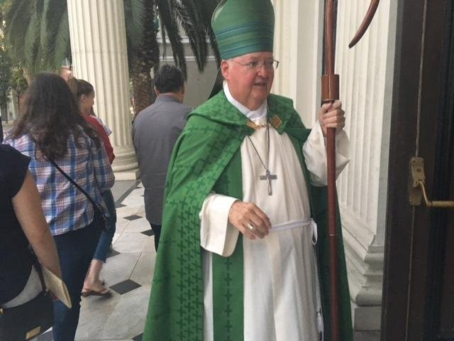Bishop Patrick McGrath outside of San Jose's Cathedral Basilica of St. Joseph on Market Street. McGrath led a prayer service for immigration reform and reunification of migrant families on Tuesday, July 17. (Harvey Barkin photo)