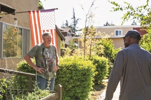 Karl Frederick (left) and Ray Mckee are seniors who leave in 2310 Rock St in Mountain View is now fearing they'll be displaced soon upon learning that their landloards have sold their property for redevelopmant. Photo by Natalia Nazarova
