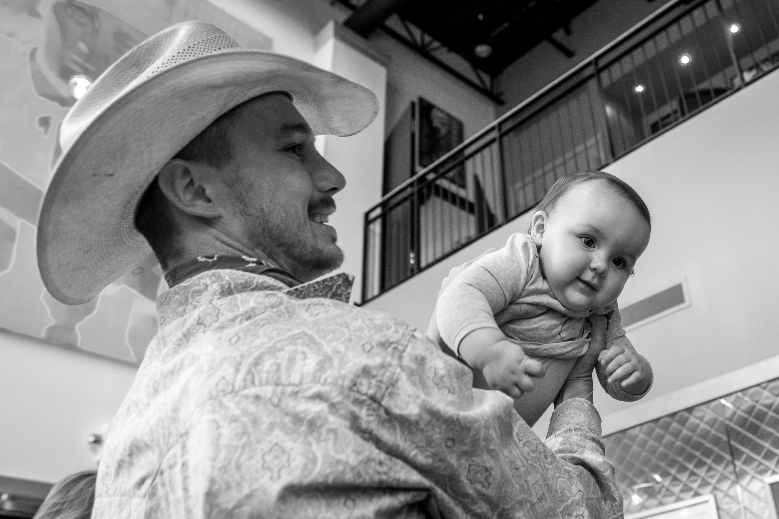 Brady Jandreau takes a moment to entertain his 10 month old daughter, Tawnee.