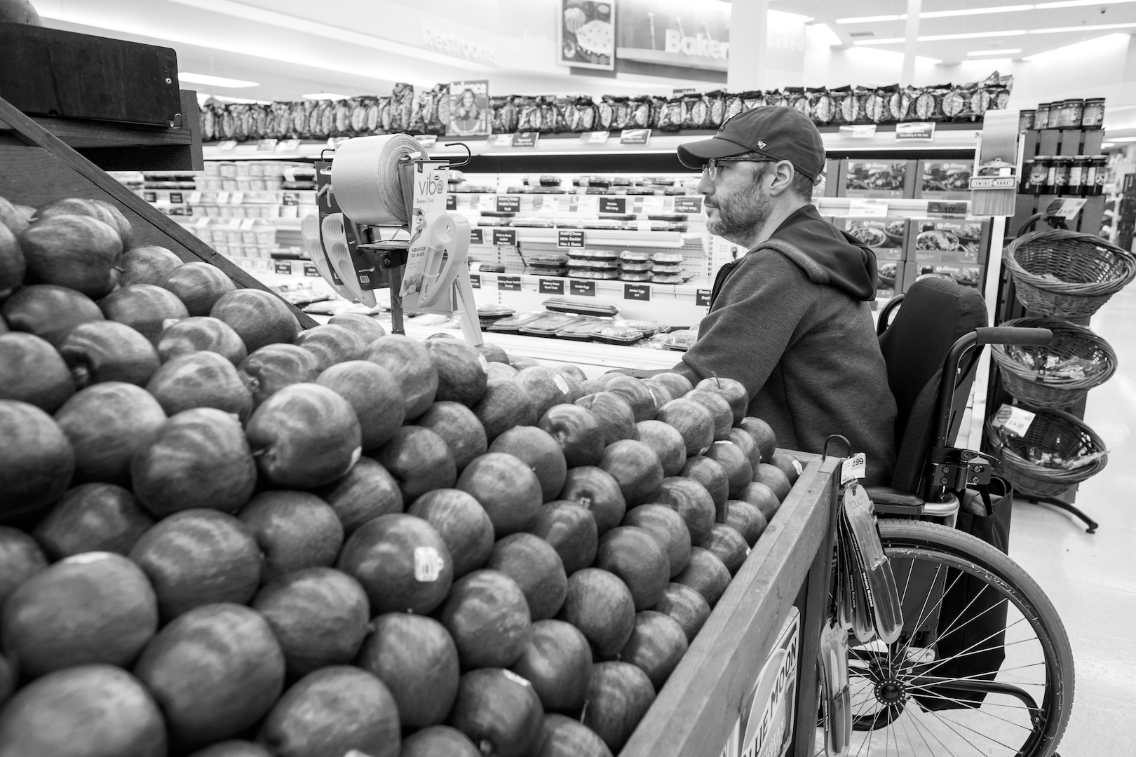 Mike works on functional life skills at a local grocery store.