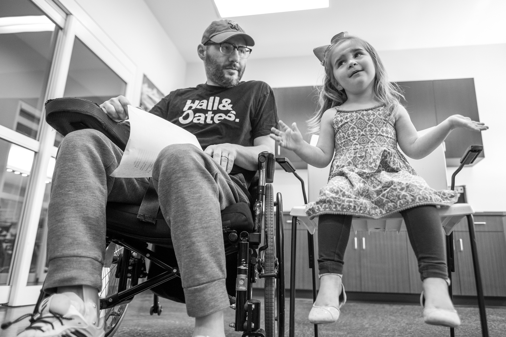 Lauren joins Mike during a music therapy session.