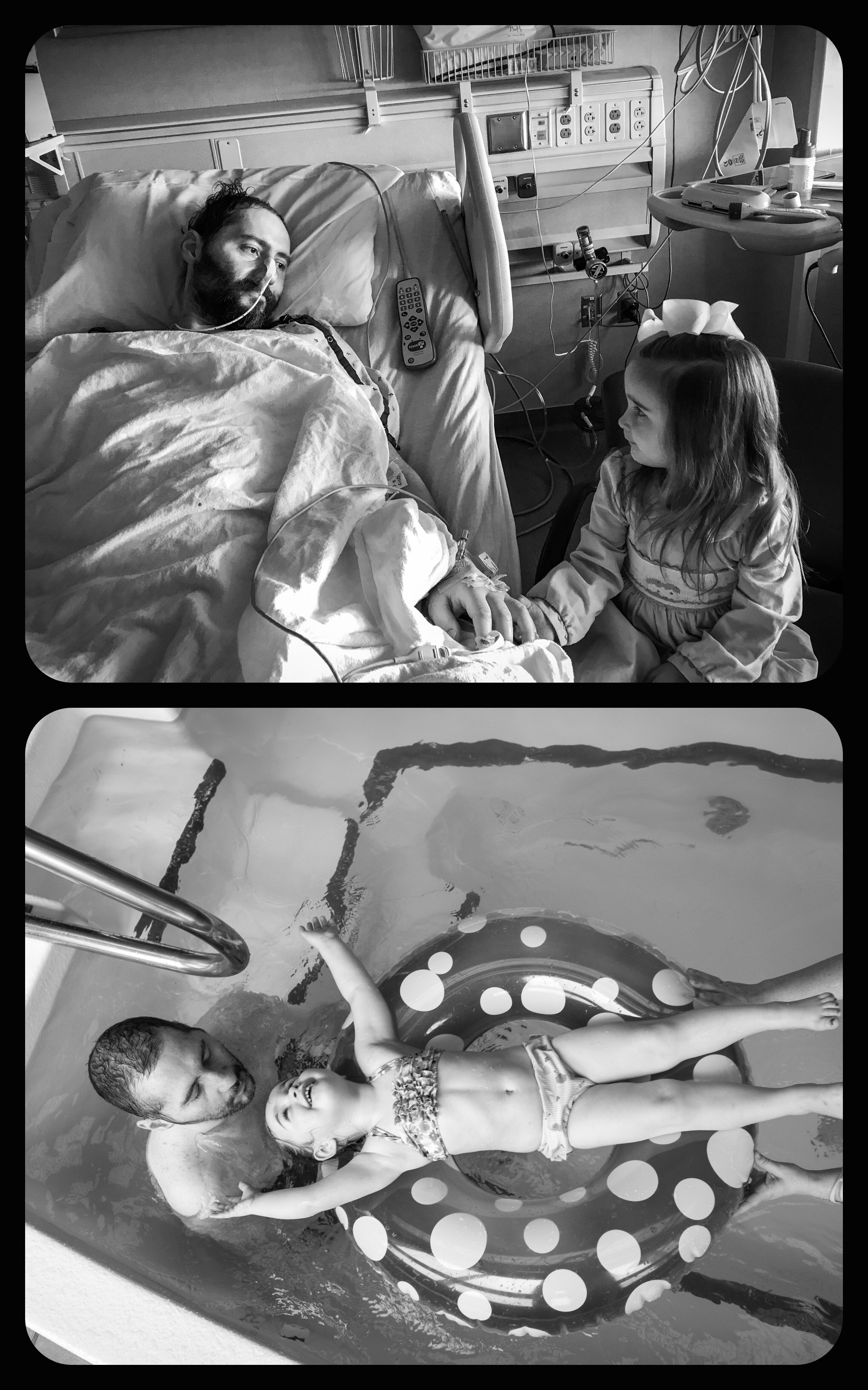 This diptych incorporates edited iPhone photos Mike's wife Denise's shot in the hospital paired with images I took during Mike's stay at QLI.