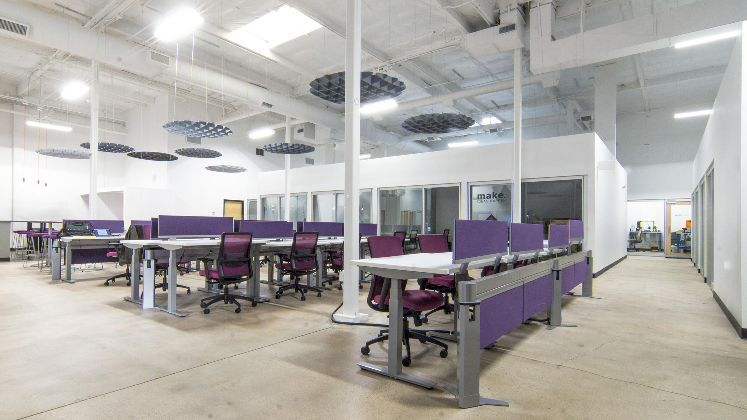 Being a co-working and co-making space, our client wanted to make sure that different levels of desking space were provided to members. Three desking types provided by  IE Connect  were included: open office tables, sit/stand workstations, and sit/stand desks in private offices.  Allsteel Aware ,  Further , and  Altitude  systems allowed for continuity between finishes while providing each option with the needed components. At the offices,  Allsteel Beyond  architectural wall fronts were incorporated to give an open, light feel to each.