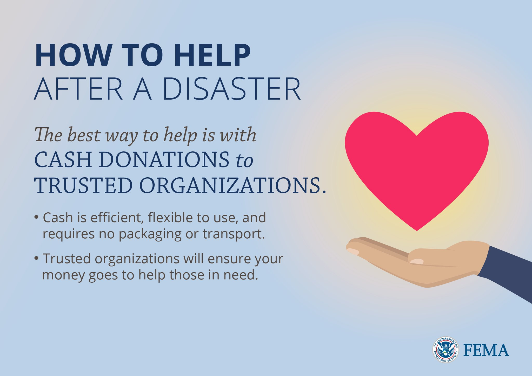 If you'd like to help people affected by  # Harvey  , connect with trusted voluntary organizations by visiting:  https://www.nvoad.org/    Courtesy of FEMA's twitter page