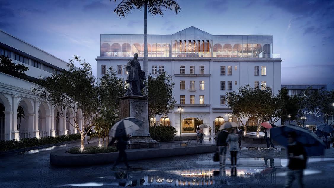 Render de la fachada principal del GHCR, vista desde la Plaza Juan Rafael Mora Fernández