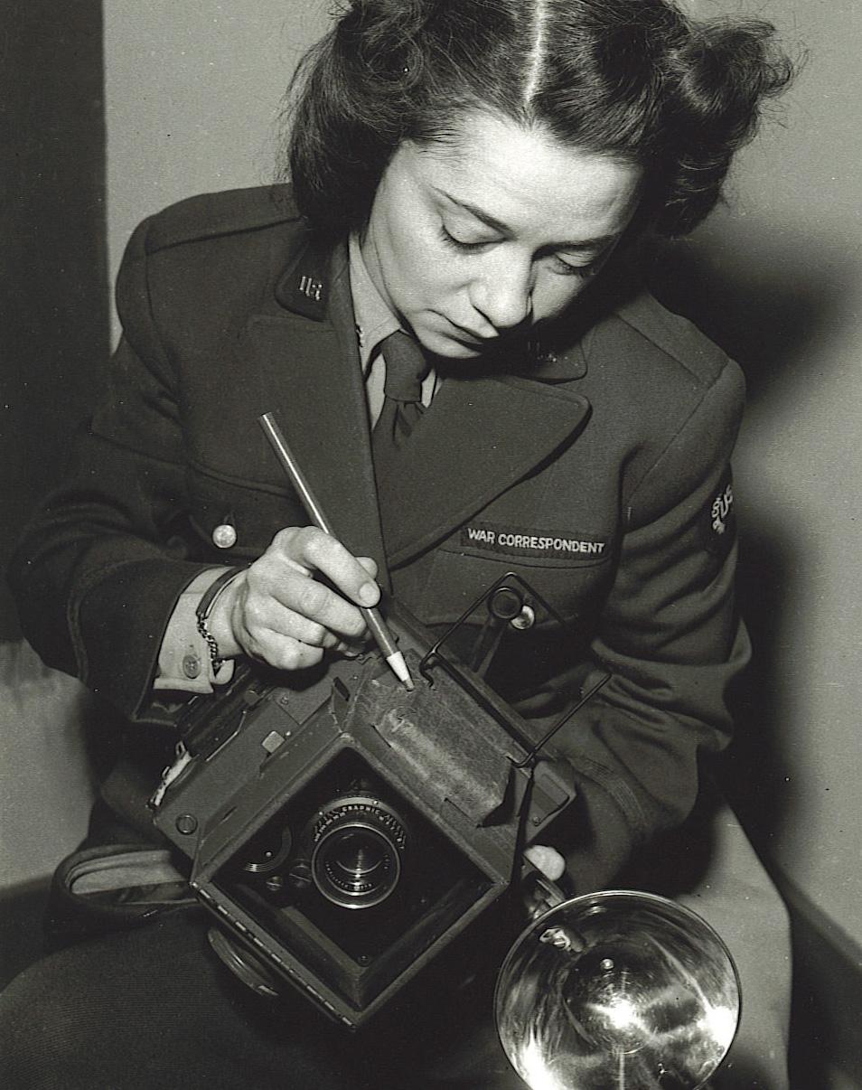 War correspondent with Speed Graphic Alaska 1945