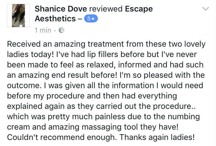 Lip Filler Facebook Review 1, Escape Aesthetics