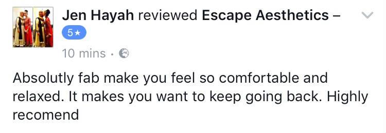 Google Review of Escape Aesthetics