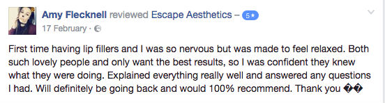 Lip Filler Facebook Review 3, Escape Aesthetics