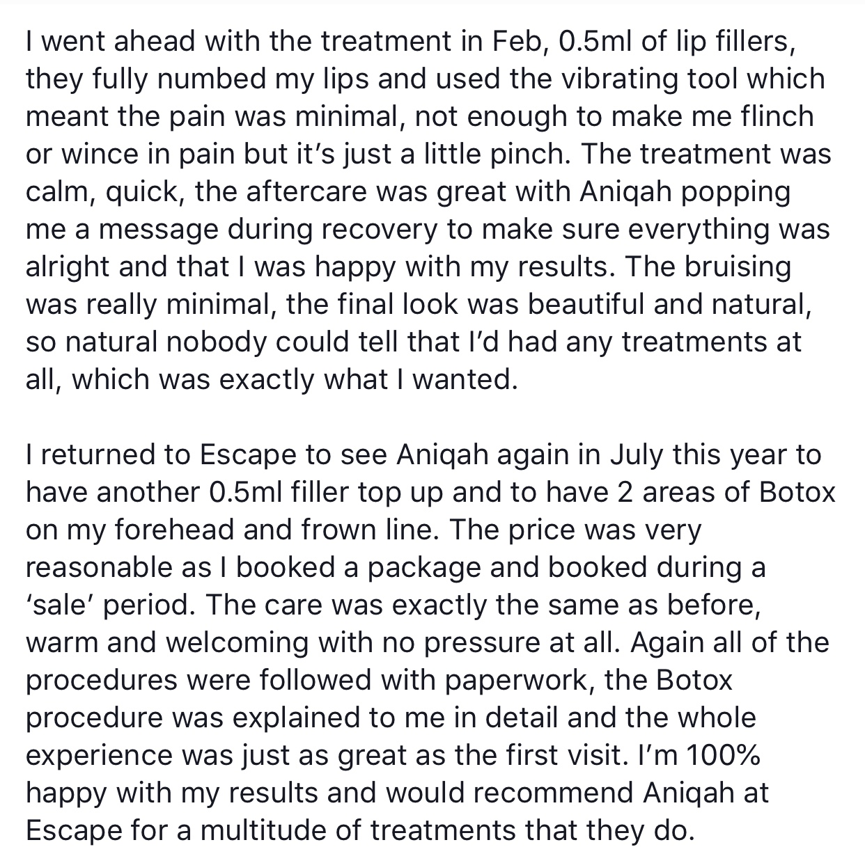 Alaina's lovely feedback on her experience with us