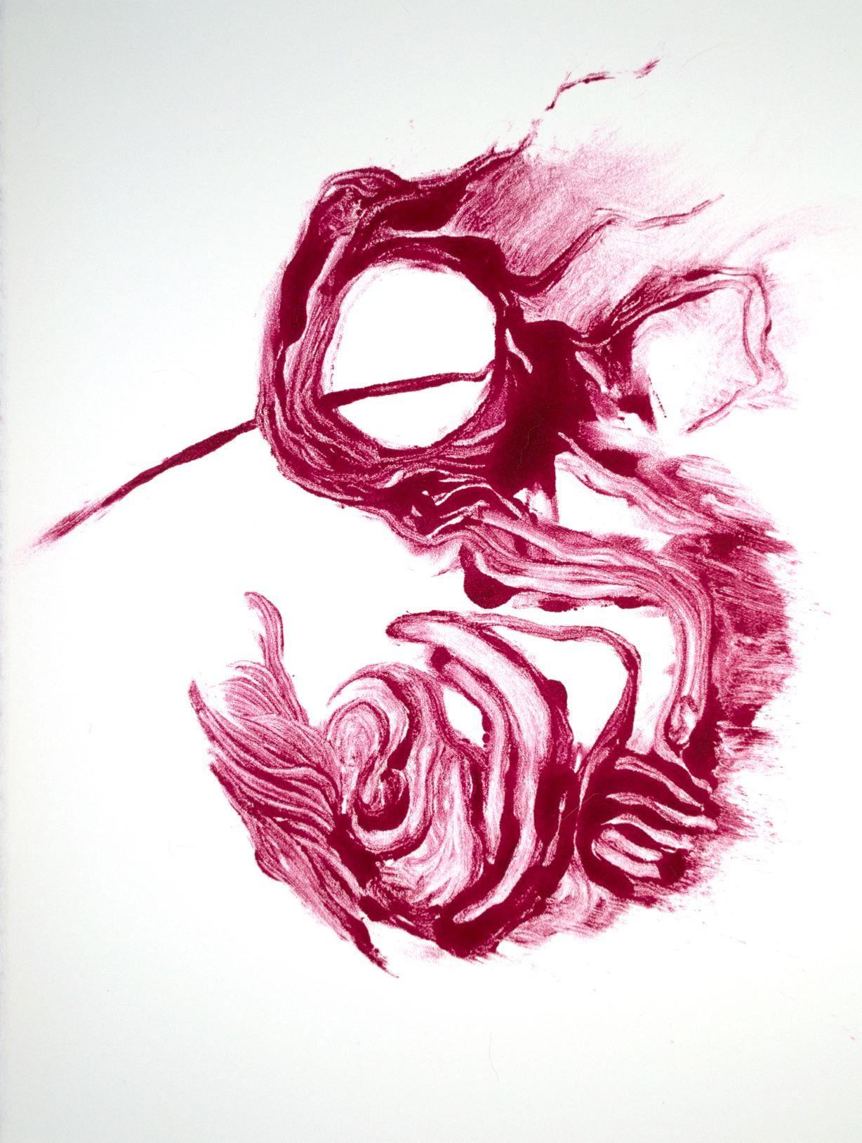 Monotype in Quinacridone Magenta and Cadmium Red, 7.Jan.2018