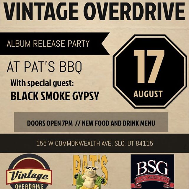 Album release party! Rockin @patsbbq with special guest Black Smoke Gypsy. Pat's will be serving up a new late night menu with new drinks. Link in bio . . . #rocknroll #rock #blues #vintageoverdrive #spark #ep #albumrelease #party #utah #saltlakecity #bbq #ampeg #gibson #fender #dwdrums #sennheiser #slc #livemusic