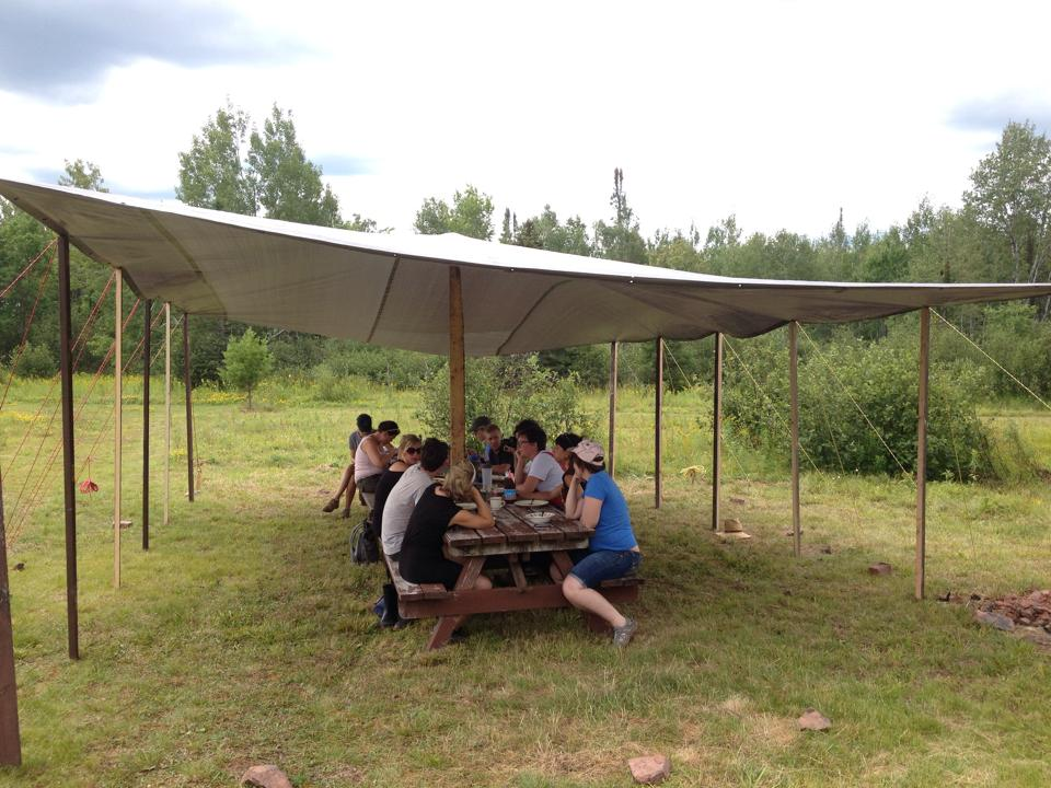 We made a bivouac & repaired picnic tables,