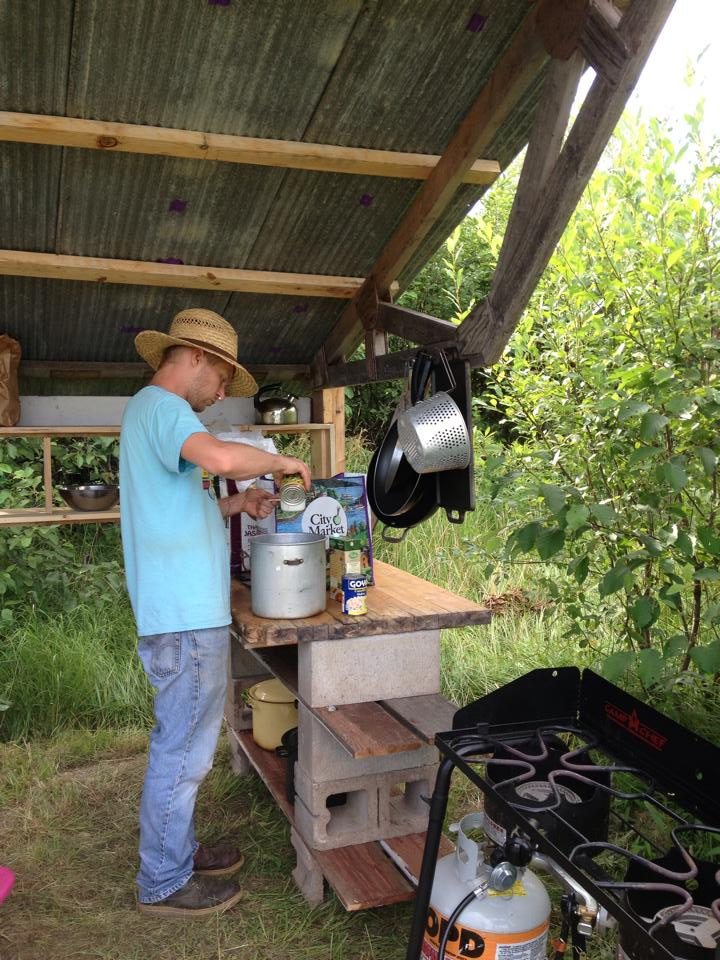 We cook with wood and propane stoves.
