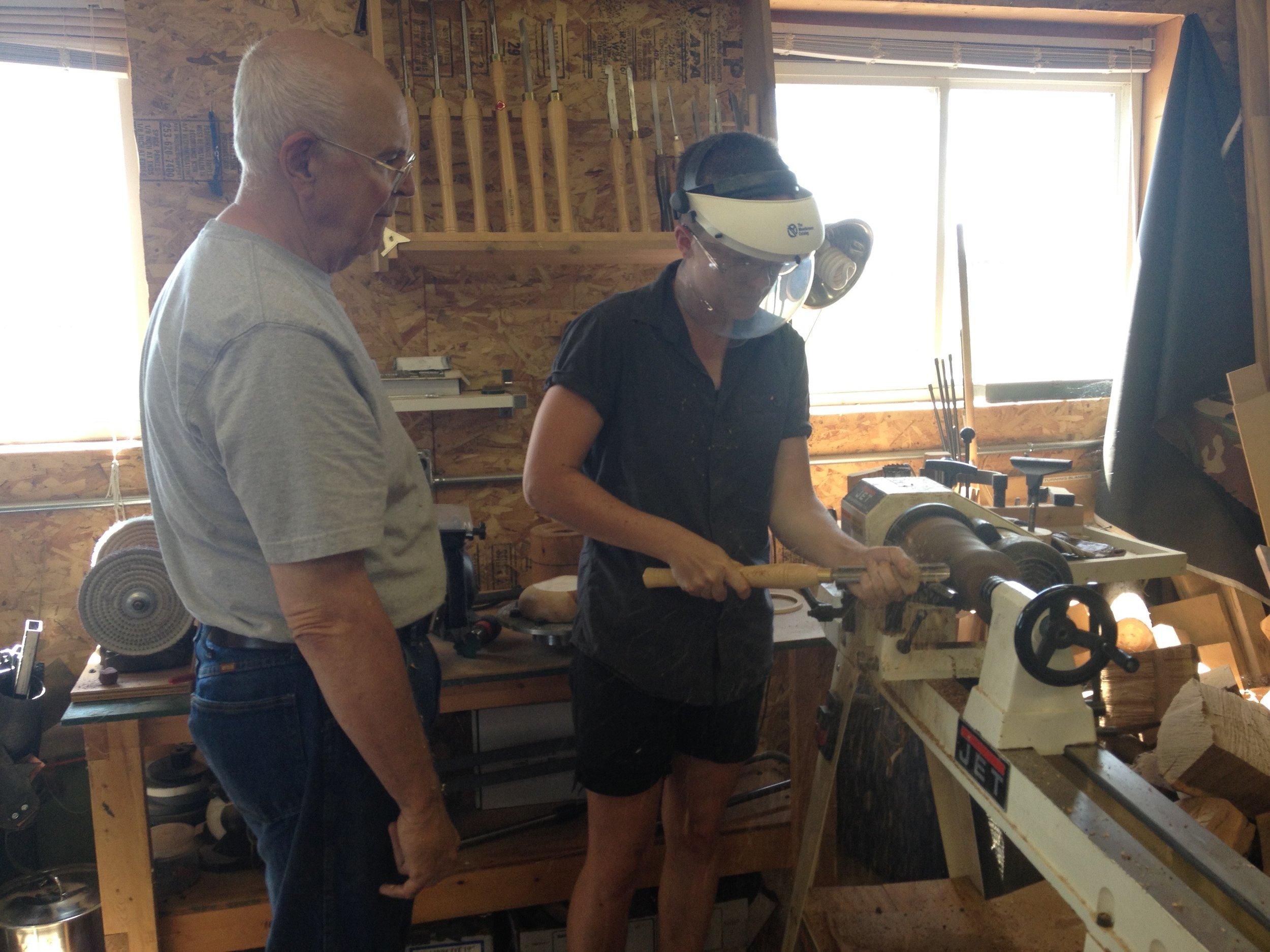 Caroline Robe turning wood with Dick Graham