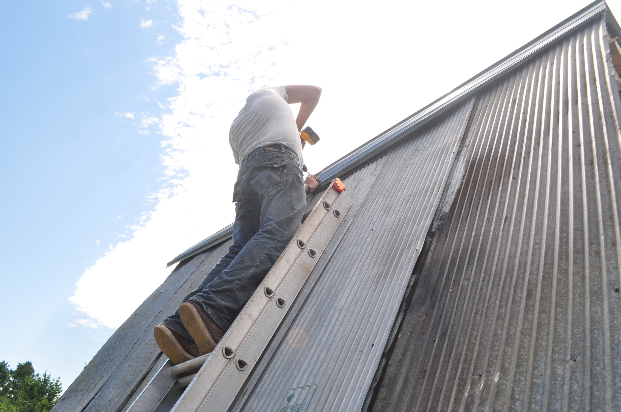 We used reclaimed barn siding for the roof,