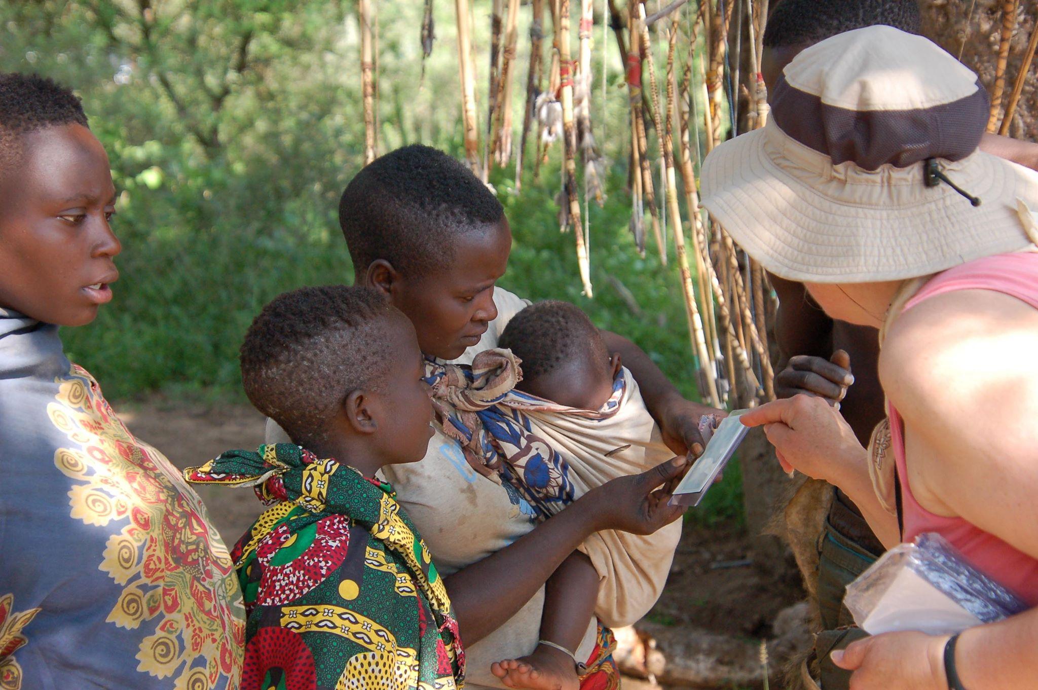 Hadzabe children instant photograph Tanzania