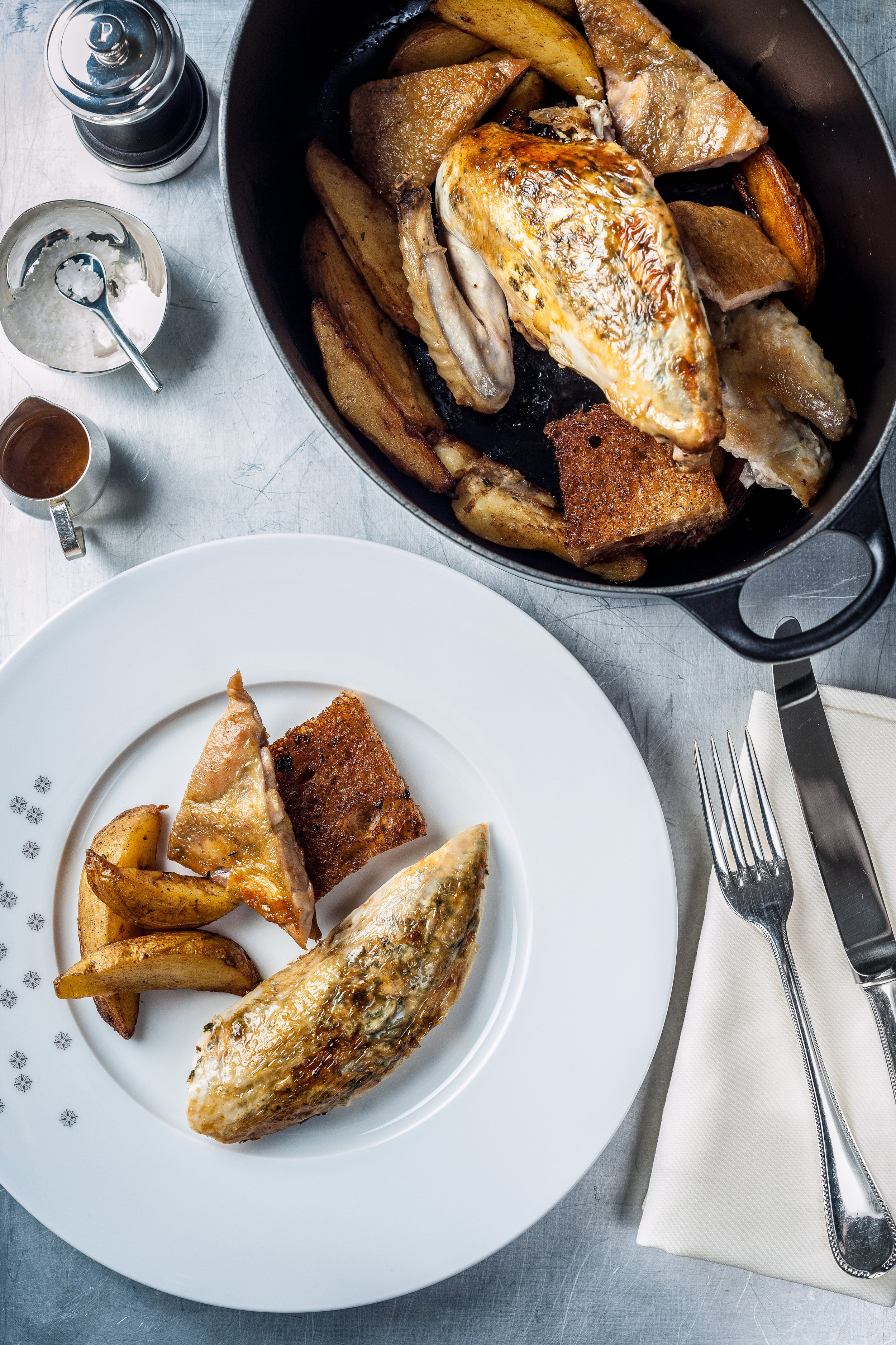 The Grill at The Dorchester - Black leg free-range chicken, 'street corner' potatoes, toasted country bread.jpg