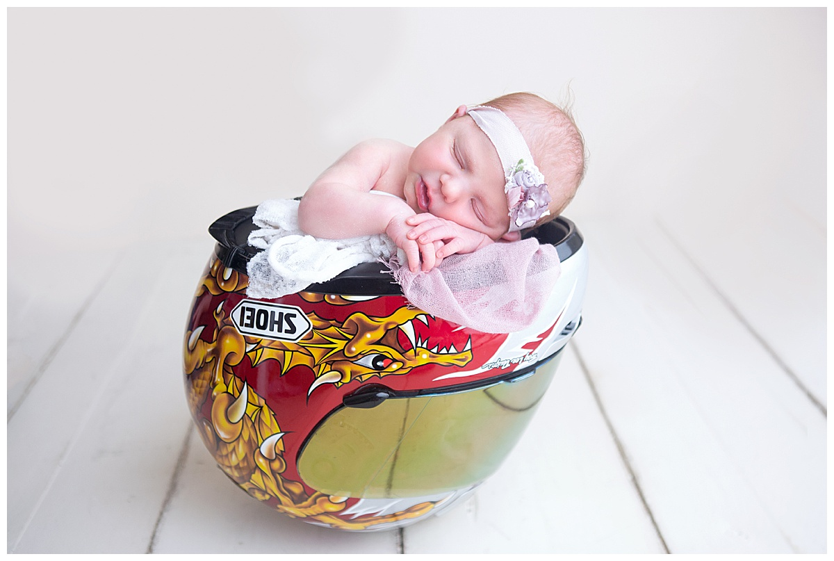 Newborn in Dirt Bike Helmet Orangeville Ontario