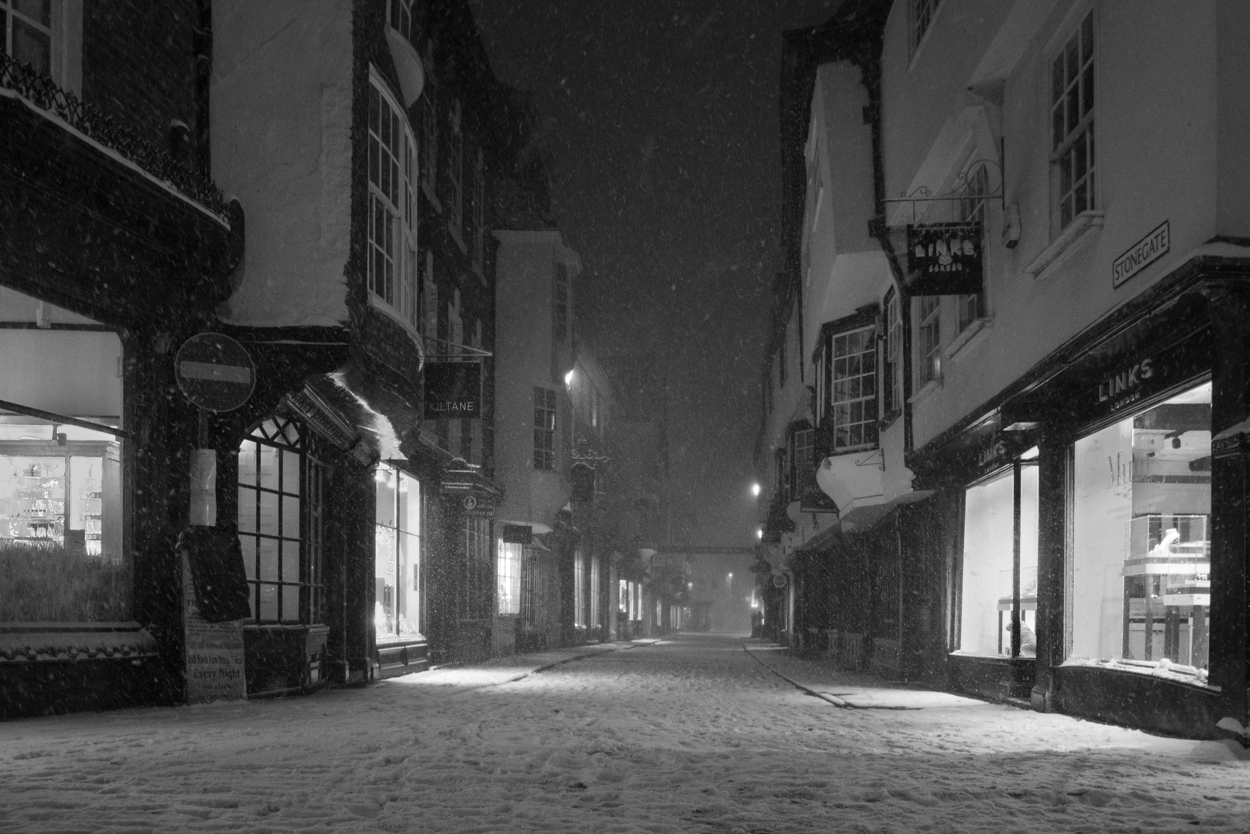 Snow storm in the historic city of York