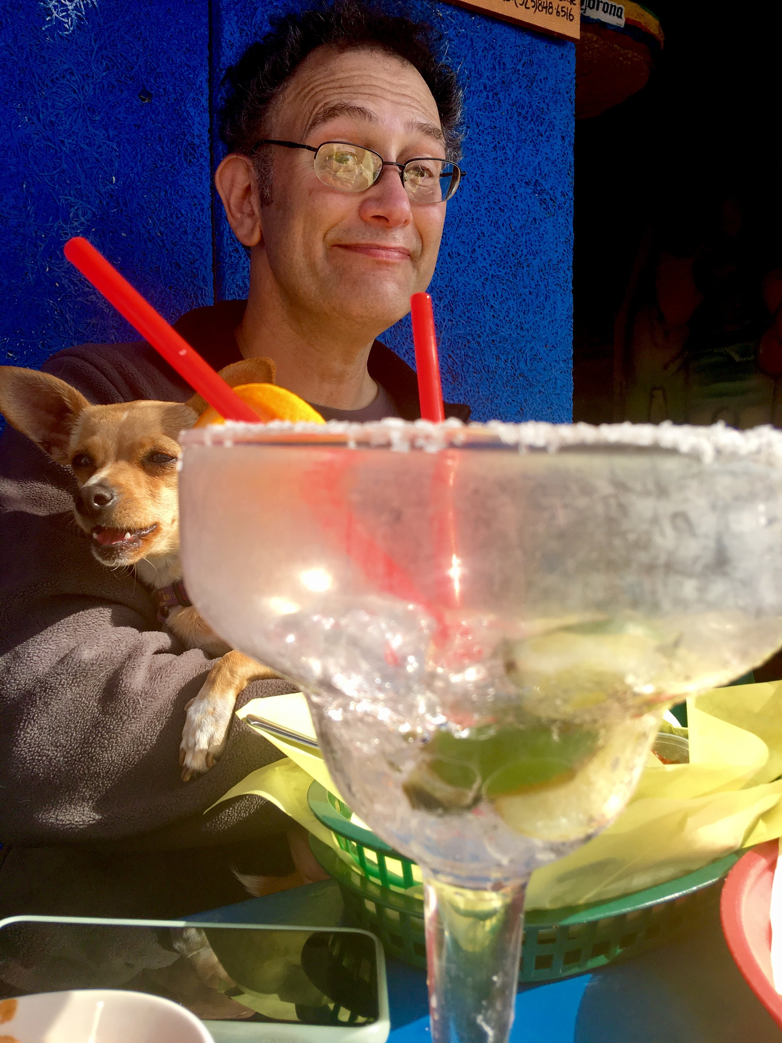 Lucy trying to get in on the Margarita action.