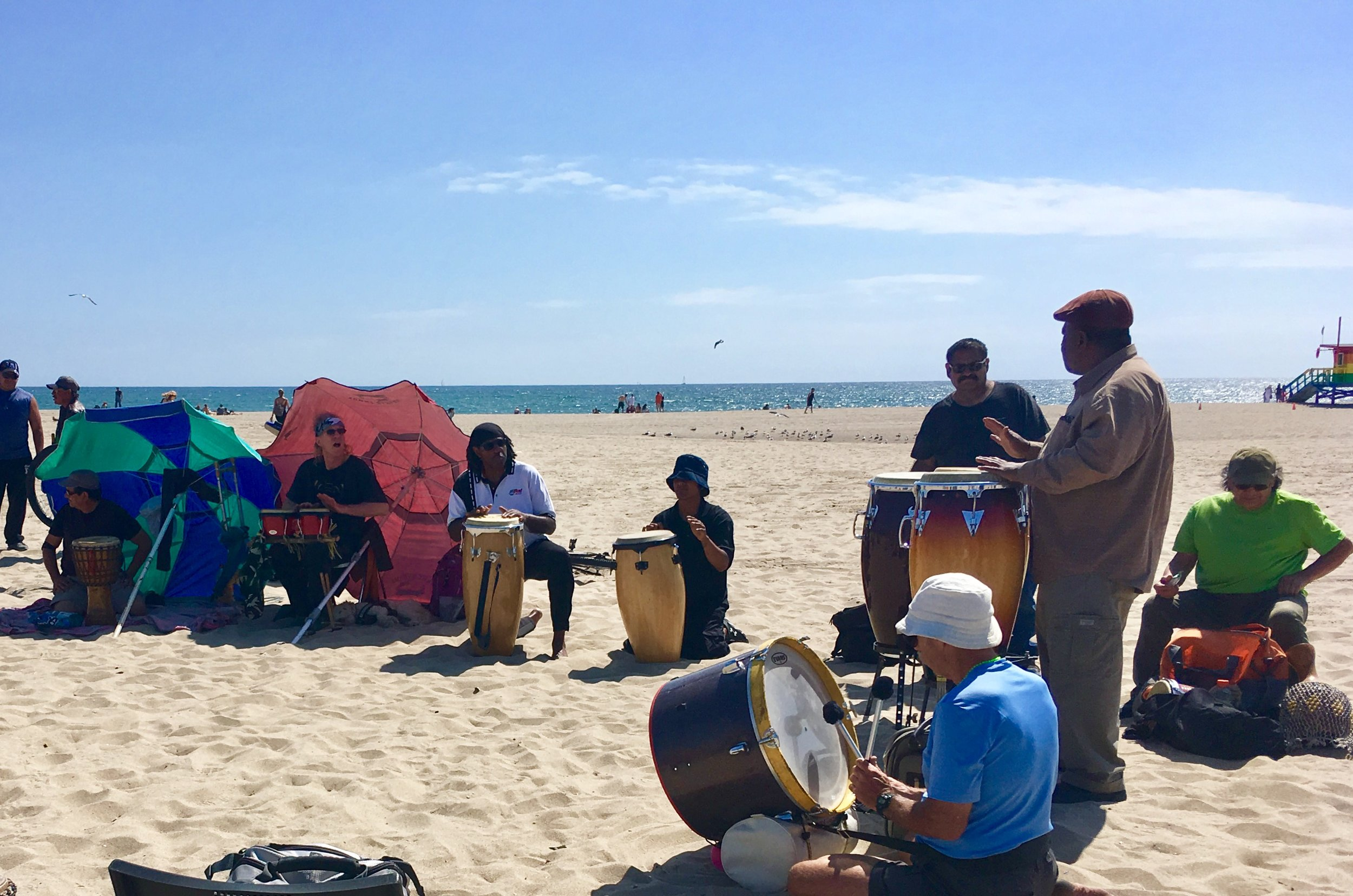 Drummers keep the beat of World Peaec on Sunday's at Venice Beach.
