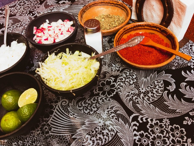 The things that surround outstanding Pozole at  La Alborada  restaurant in San Miguel.