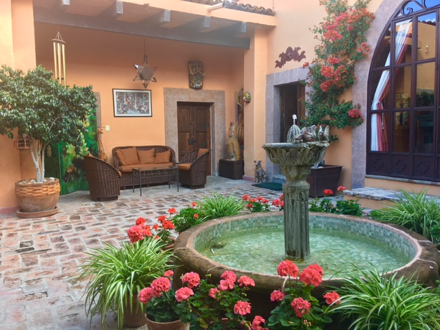 The garden at Casa Mandu where that glass of vino was shared.
