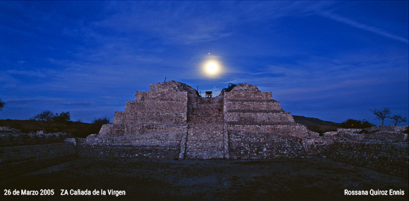 An image take by Astronomer Rosanna Quinoz Ennis as part of her study of how ancient astronomers used the Canada de los Virgin to track the lunar year.