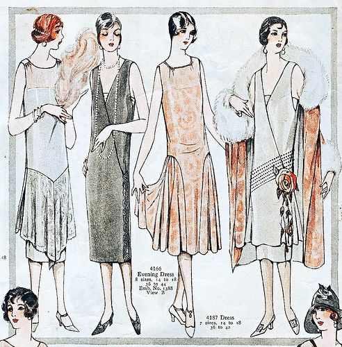 1920s evening wear: drop waists, satins, long pearls, elaborate detailing