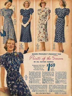 1930s: puffy sleeves, natural waistlines, prints