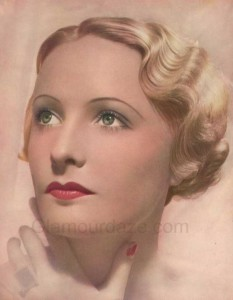1930s makeup: thin brows, soft eyes