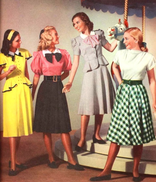 1940s: A-line skirts, blouses, and skirt suits
