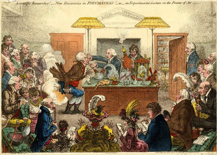 New Discoveries in Pneumatics,James Gillray, 1802.